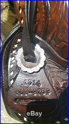 15 inch Hereford Tex Tan Western saddle with sterling silver conchos