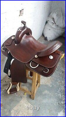 15'' western saddle Roper Reining Style saddle with oil brown leather seat