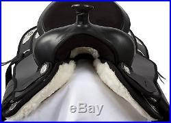 16 17 18 BLACK SYNTHETIC CORDURA PLEASURE TRAIL WESTERN HORSE LIGHT SADDLE TACK