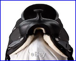 16 17 18 BLACK SYNTHETIC CORDURA PLEASURE TRAIL WESTERN HORSE SADDLE TACK PAD