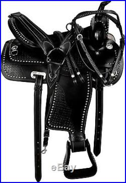16 17 Western Black Leather Pleasure Trail Barrel Horse Show Saddle Tack
