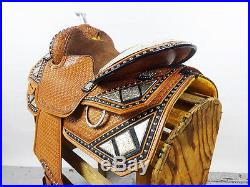 16 BLACK MONTANA LEATHER WESTERN SILVER SHOW PARADE TRAIL HORSE SADDLE TACK