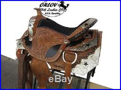 16 BLACK STAR SILVER SHOW PARADE EVENT LEATHER WESTERN TRAIL PLEASURE SADDLE