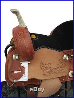 16 BLACK SUEDE BARREL RACER ROUGHOUT LEATHER PLEASURE TRAIL SHOW WESTERN SADDLE
