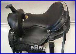 16 BLACK smooth leather ENDURANCE Western SHOW horse SADDLE LATIGOS