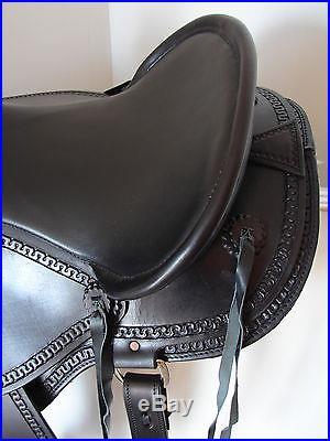 16 BLACK smooth leather GAITED ENDURANCE Western SHOW horse SADDLE LATIGOS