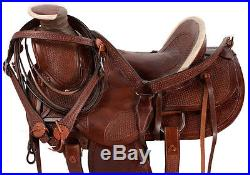 16 BROWN RANCH WORK ROPING ROPER COWBOY WESTERN PLEASURE TRAIL HORSE SADDLE TACK