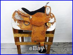 16 BUTTERFLY MONTANA LEATHER WESTERN SILVER SHOW PARADE TRAIL HORSE SADDLE TACK