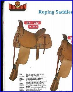 16 Big Horn A-fork Slick Seat Roper Western Saddle Model 1782