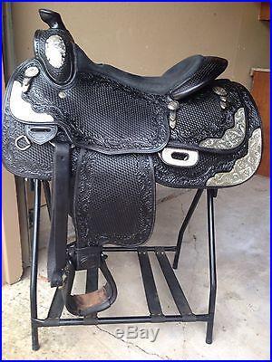 16 Black Blue Ribbon Western Show Saddle LOW Reserve FREE Shipping