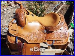 16 CLOSE CONTACT REINING MONTANA LEATHER COWBOY WESTERN TRAIL HORSE SADDLE