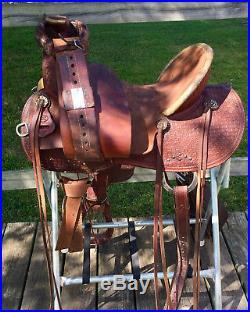 16 Cactus High Back Ranch Roping Mounted Shooting Saddle w Breast Collar, FQH