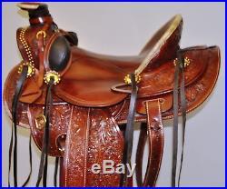 16 Chestnut Custom Western Roping Wade Buckaroo Saddle with torpedo Stirrups