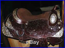 16 Dark Oil Double T Silver Show Western Leather Fully Tooled Saddle New