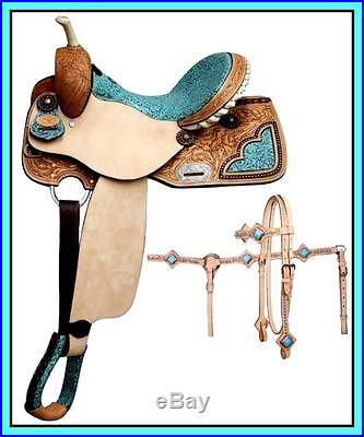 16 DOUBLE T FILIGREE BARREL SHOW ROUGH OUT WESTERN LEATHER SADDLE 4PC TACK SET