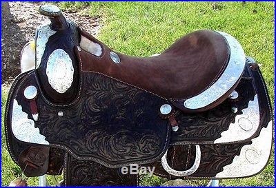 16 DOUBLE T WESTERN horse SADDLE TRAIL dark BROWN SHOW silver tooled NEW