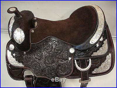 16 Dark Brown Leather Western Show Saddle Silver Fully Tooled Headstall Bc