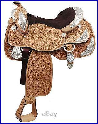 16 Double T Light Oil Oak Leaf Tooling Silver Show Saddle