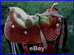 16 Horse Western Barrel Show Pleasure LEATHER SADDLE Bridle 5052
