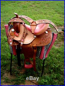 16 Horse Western Barrel Show Pleasure LEATHER SADDLE Bridle 5070