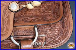 16 In Western Horse Barrel Racing Saddle Trail Pleasure Leather Hilason U-5-16
