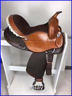 16 Inch New Western Semi Leather Synthetic Pleasure Trail Horse Saddle Brown