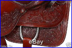 16 Inch Western Ranch Work Roping Pleasure Trail Horse Brown Leather Saddle Tack