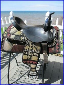 16'' KING SERIES #201 Black Southwest western saddle & matching Pad FQHB
