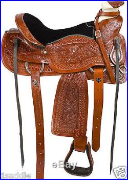 16 LEATHER RANCH ROPING SADDLE ROPER COWBOY WESTERN PLEASURE TRAIL HORSE TACK