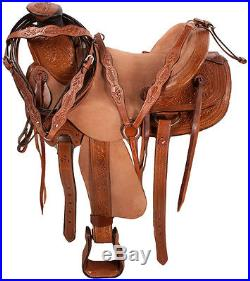 16 LEATHER RANCH WORK ROPING ROPER COWBOY WESTERN TRAIL HORSE SADDLE TACK PKG