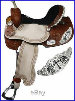 16 Leather Barrel Racing Show Saddle Trail with Engraved Silver Cross Emblem