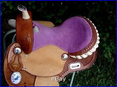 16 Lite Purple BARREL Western SHOW BLING CRYSTAL horse SADDLE Full QH CLOSEOUT