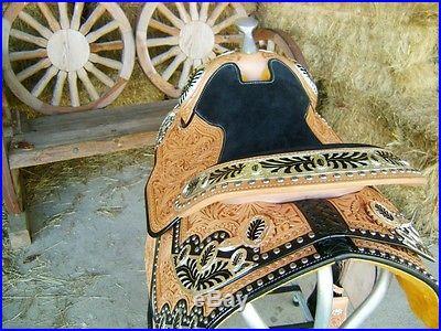 16 MONTANA LEATHER SILVER WESTERN PARADE SHOW PLEASURE TRAIL HORSE SADDLE TACK