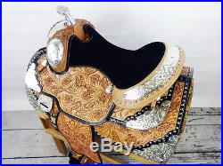 16 MONTANA SHOW WESTERN LEATHER PARADE PLEASURE TRAIL HORSE SADDLE SILVER