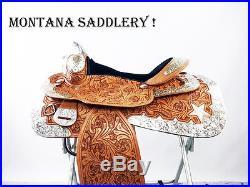 16 MONTANA SILVER SHOW WESTERN LEATHER PARADE PLEASURE TRAIL HORSE SADDLE