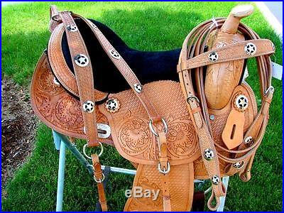 16 SNS Medium OIL Black Suede seat BARREL HORSE Western STAR SHOW SADDLE SET