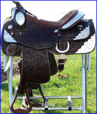 16 Showman WESTERN horse SADDLE TRAIL Dark BROWN SHOW Full Silver Fully Tooled