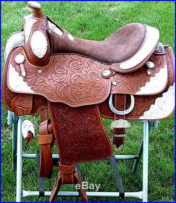 16 TAN BROWN DOUBLE T SILVER SHOW WESTERN LEATHER FULLY TOOLED SADDLE