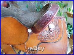 16 TEX TAN Prairie Rose Western Pleasure Saddle 3-way