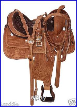 16 TOOLED WESTERN PLEASURE TRAIL HORSE RANCH ROPER ROPING LEATHER SADDLE TACK