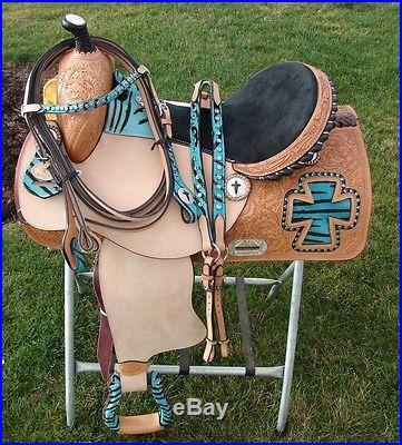 16 Turquoise Blue w/zebra crosses Horse Western Show Barrel Saddle SET Showman