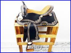 16 VINTAGE STYLE BLACK LEATHER WESTERN SHOW COWBOY PLEASURE TRAIL HORSE SADDLE