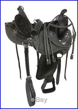 16 WESTERN ARABIAN SADDLE LEATHER TOOLED PLEASURE TRAIL HORSE TACK COMFORTABLE