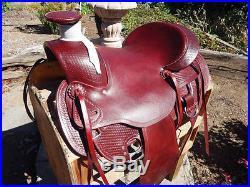 16 WESTERN MAHOGANY WADE HORSE ROPING ROPER RANCH LEATHER PLEASURE SADDLE