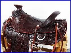 16 WESTERN MAHOGANY WADE ROPING TRAIL LEATHER HORSE COWBOY RANCH SADDLE TACK