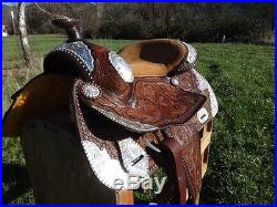 16 WESTERN MONTANA SILVER SHOW LEATHER PARADE PLEASURE TRAIL HORSE SADDLE TACK