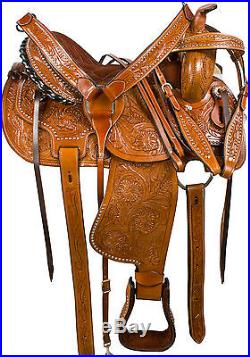 16 WESTERN PLEASURE TRAIL BARREL RACING HORSE SHOW LEATHER FULL BARS SADDLE TACK