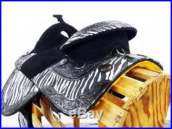 16 WHITE ZEBRA TREELESS LEATHER ENDURANCE BARREL WESTERN TRAIL HORSE SADDLE