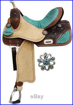 16 Western Barrel Racing Saddle with Teal Alligator Seat & Roughout