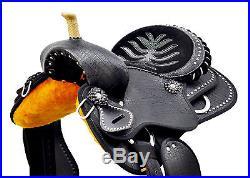16 Western Black Synthetic Leather Barrel Spot Studded Saddle Riding horse